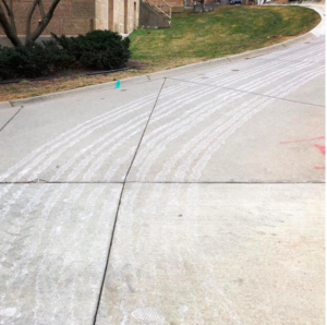 Traces of brine salt on campus