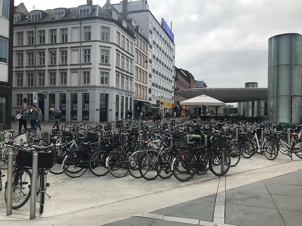 Bikes parked in Copenhagen.