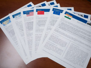 Handouts for each group of delegates lay out historical context and policy positions. Photo by Nathan Jandl.