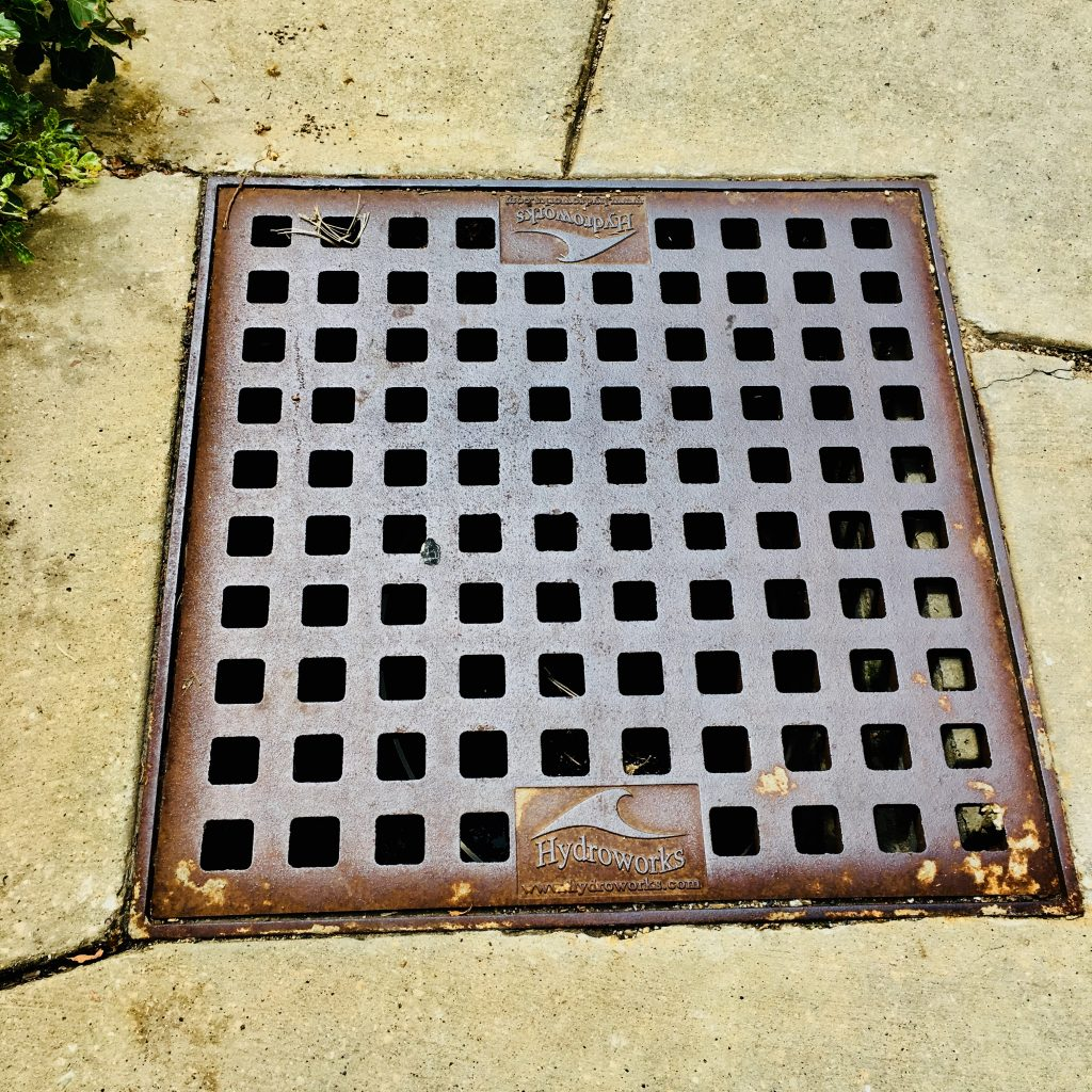 One of the many drains for stormwater management on the UW-Madison campus.