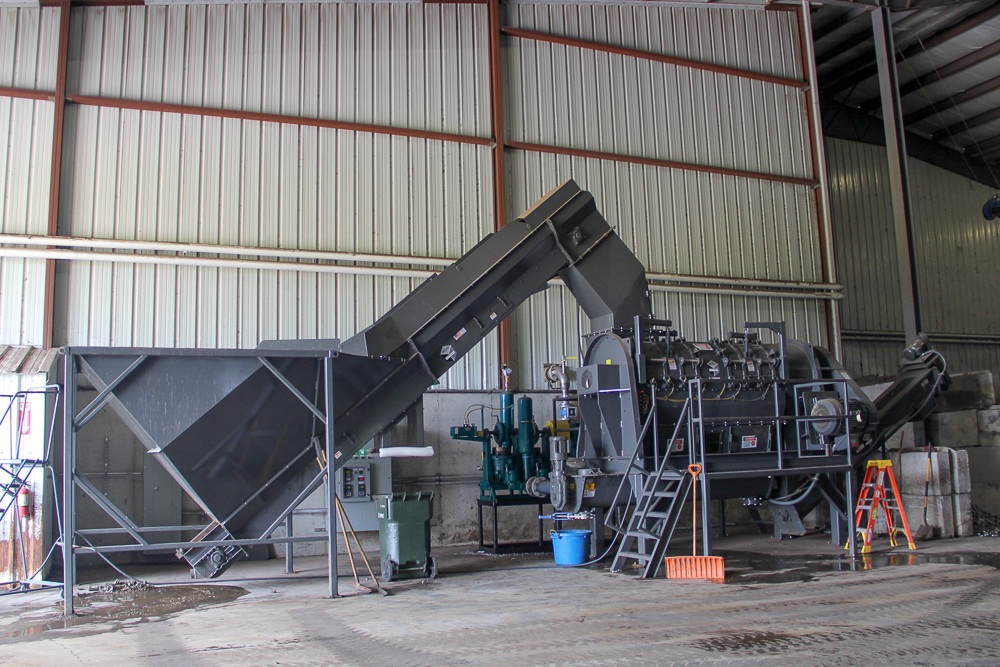 The depackager machine at Gundersen Envision's compost facility. Photo by Trina La Susa.