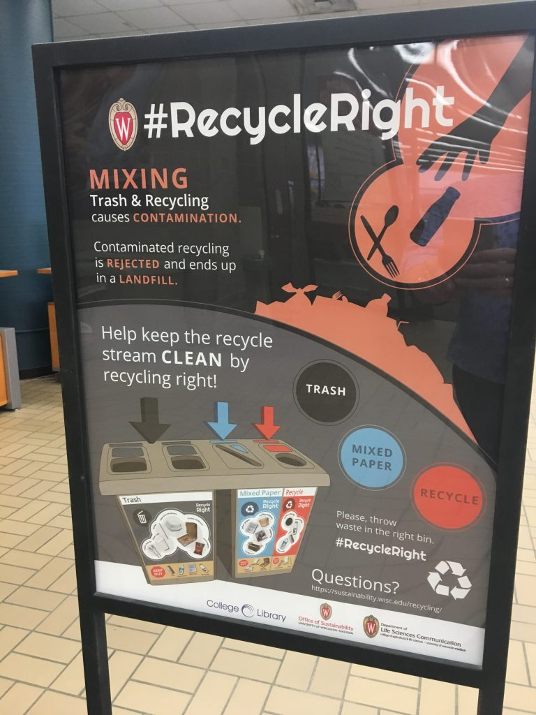 A stand in College Library introduces patrons to the #RecycleRight campaign.
