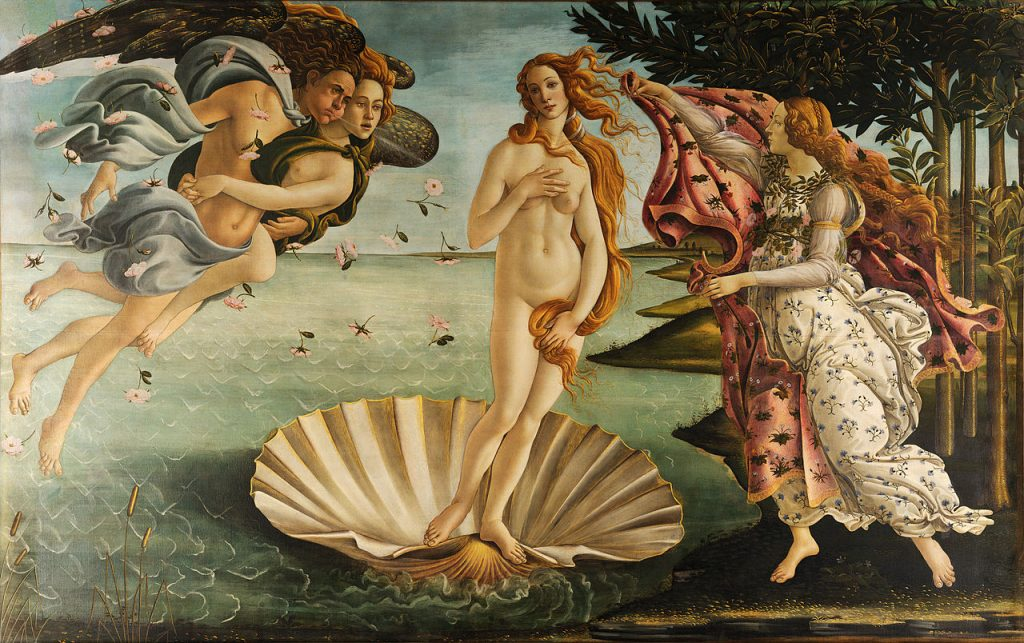 """""""Birth of Venus"""" (ca. 1485) by Sandro Botticelli. Public domain."""