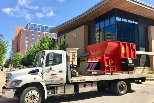 Compactor delivery at Gordon Dining & Event Center