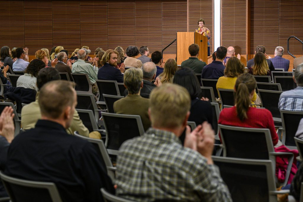 Chancellor Rebecca Blank speaks during an announcement event held in the Wisconsin Institute for Discovery (WID)for UW-Madison's STARS sustainability efforts at the University of Wisconsin-Madison on Oct. 7, 2019. (Photo by Bryce Richter /UW-Madison)