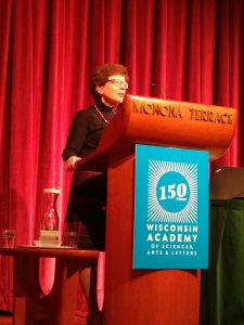 Chancellor Blank delivers her remarks at the Climate Fast Forward conference in Madison, WI on November 8, 2019.