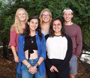Office of Sustainability Green Labs intern team, 2019-2020. From left to right: Meg DiPoto, Norma Behrend-Martinez, Marina Steiner, Sanauz Alaei, Riley Collins. Photo by Ally Burg.