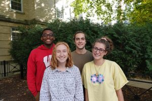 The 2019-2020 Green Greeks team at the Office of Sustainability (L-R): Jeremy Sanford, Natalie Brunner, Jackson Webster, Jacqueline Olson. Photo by Ally Burg.