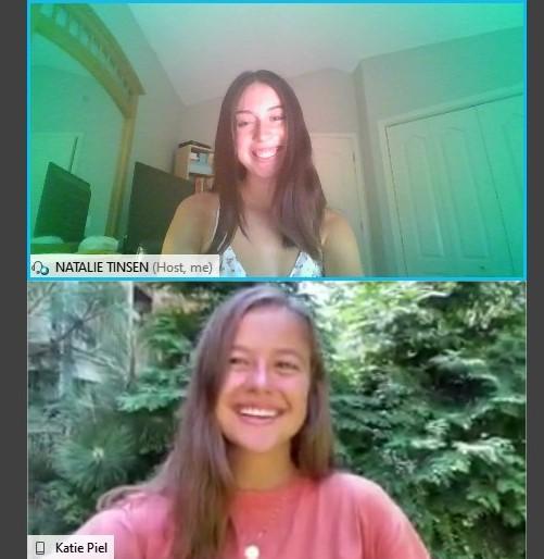 Natalie Tinsen and Katie Piel speak over WebEx during their interview.