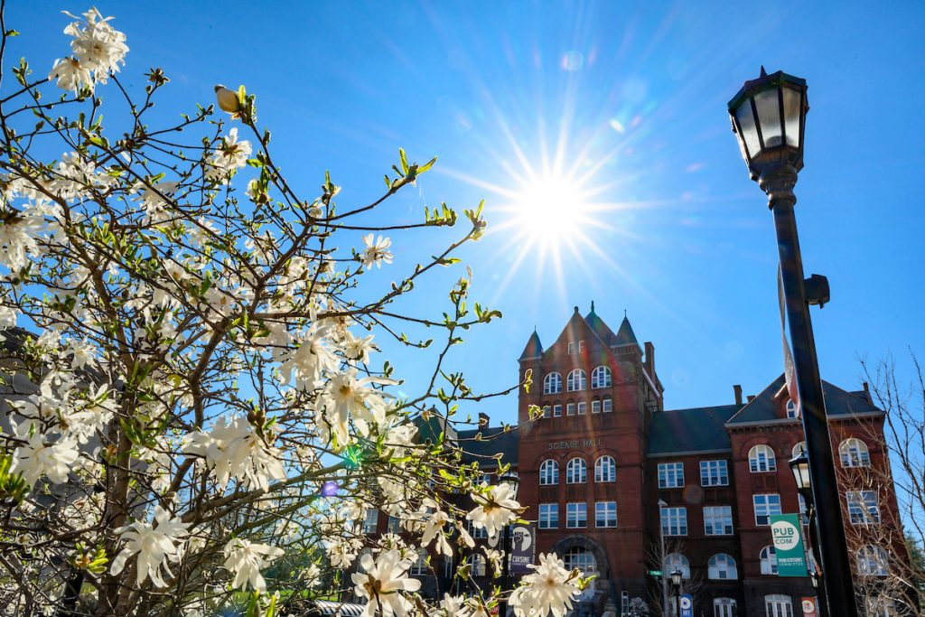 Science Hall is pictured with blooming spring flowers in the late afternoon sun at the University of Wisconsin-Madison on April 24, 2019.